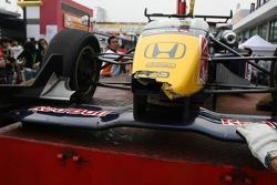 Wrecked car of Sebastian Vettel