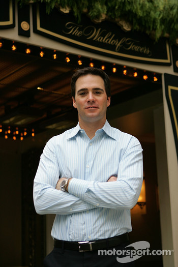 2006 NASCAR NEXTEL Cup Series champion, Jimmie Johnson, stands outside of the Waldorf Towers in New York City