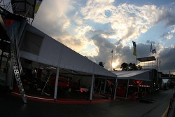 Flying Lizard Motorsports paddock area