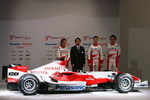 Jarno Trulli, Kazou Okamoto, Toyota Motor Corporation Executive Vice President, Ralf Schumacher and Franck Montagny