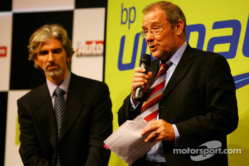 Damon Hill, Ex-F1 World Champion, BRDC President, and Richard Caborn, UK Minister of Sport