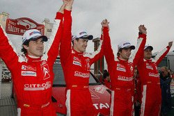 Podium: Winners Sébastien Loeb and Daniel Elena celebrate with Daniel Sordo and Marc Marti