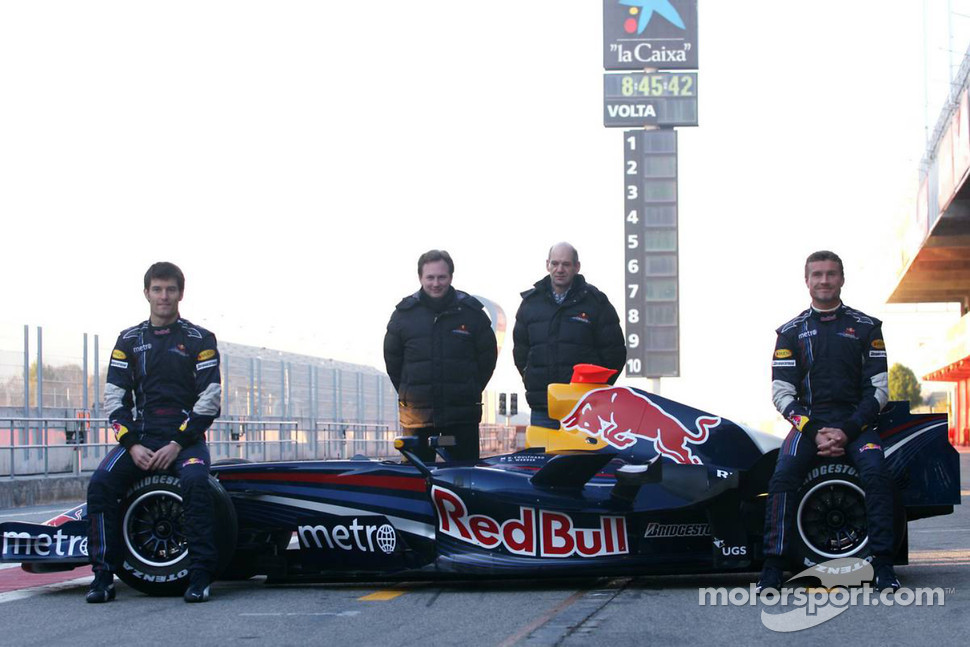 David Coulthard, Mark Webber, Christian Horner, Red Bull Racing, Sporting Director, Adrian Newey, Red Bull Racing, Technical Operations Director
