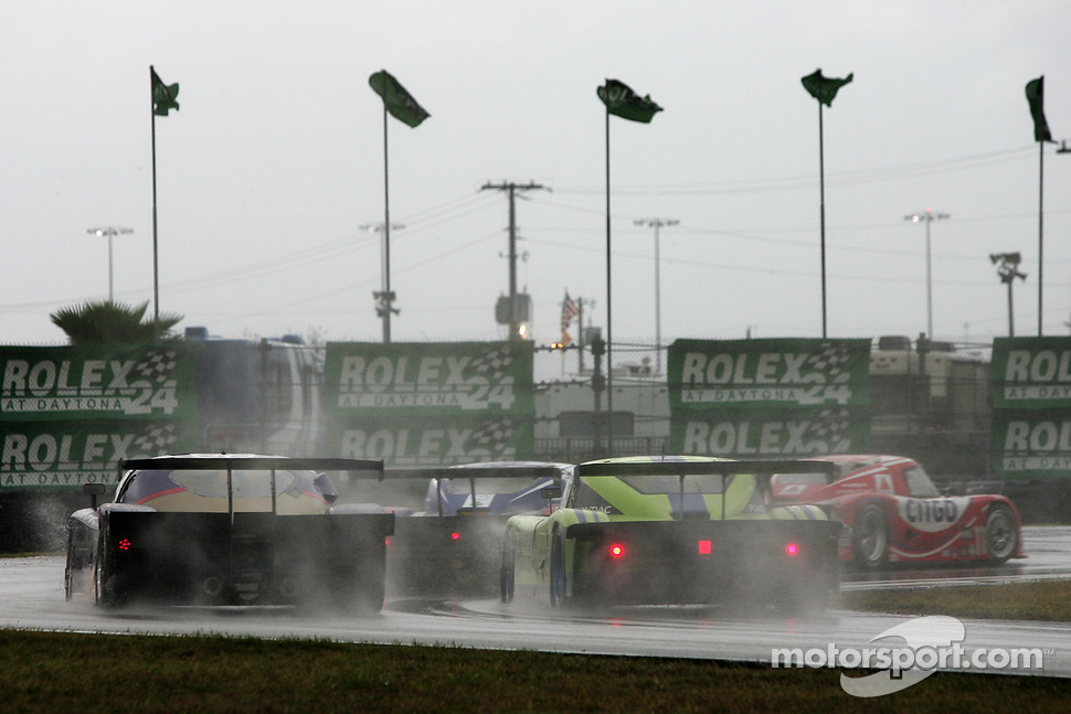 Race action in the early morning rainstorm