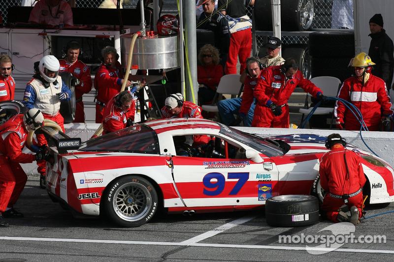 Pitstop for #97 Stevenson Motorsports Corvette: Vic Rice, Tommy Riggins, John Stevenson, Spencer Trenery, Lou Gigliotti