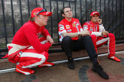 Kimi Raikkonen, Stefano Domenicali and Felipe Massa