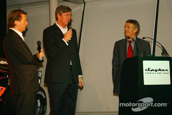 Michiel Mol, Director of Formula One Racing, Spyker and Spyker F1 Team, Victor Muller, Chief Executive Officer of Spyker Cars N.V. and Spyker F1 Team and Tony Jardine