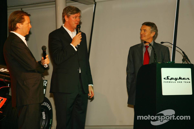 Michiel Mol, Director of Formula One Racing, Spyker and Spyker F1 Team, Victor Muller, Chief Executive Officer of Spyker Cars N.V. and Spyker F1 Team and Tony Jardine