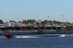 Water skiing entertainment on Lake Lloyd in the infield