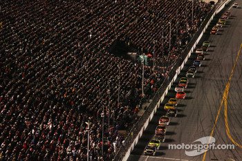 Mark Martin leads Kyle Busch on the last restart