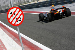 End of pit lane speed limit for Nelson A. Piquet