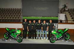 Kawasaki Racing Team: Randy de Puniet and Olivier Jacque pose with Kawasaki team members