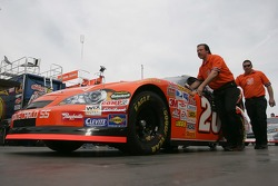 Tony Stewart's car is pushed into tech inspection
