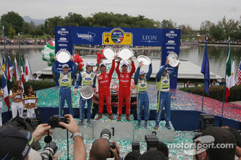 Podium: winners Sbastien Loeb and Daniel Elena, second Marcus Gronholm and Timo Rautianen, third place Mikko Hirvonen and Jarmo Lehtinen