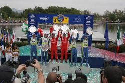 Podium: winners Sébastien Loeb and Daniel Elena, second Marcus Gronholm and Timo Rautianen, third place Mikko Hirvonen and Jarmo Lehtinen