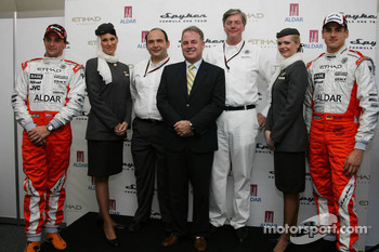 Christijan Albers, Spyker F1 Team, Colin Kolles, Spyker F1 Team, Team Principal, Ronald Barrott, CEO of Aldar, Victor Muller, Chief Executive Officer of Spyker Cars N.V. and Spyker F1 Team and Adrian Sutil, Spyker F1 Team