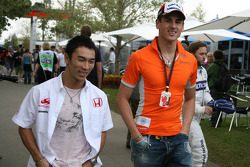 Takuma Sato, Super Aguri F1 and Adrian Sutil, Spyker F1 Team