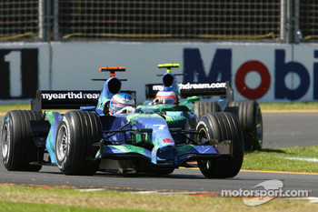 Jenson Button, Honda Racing F1 Team, RA107 leads Rubens Barrichello, Honda Racing F1 Team, RA107