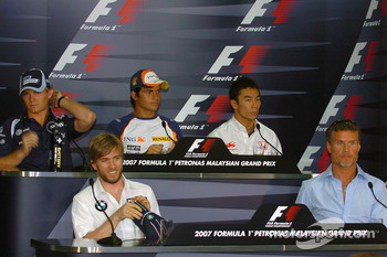 FIA press conference: Nico Rosberg, WilliamsF1 Team, Nelson A. Piquet, Test Driver, Renault F1 Team, Takuma Sato, Super Aguri F1, Nick Heidfeld, BMW Sauber F1 Team, David Coulthard, Red Bull Racing