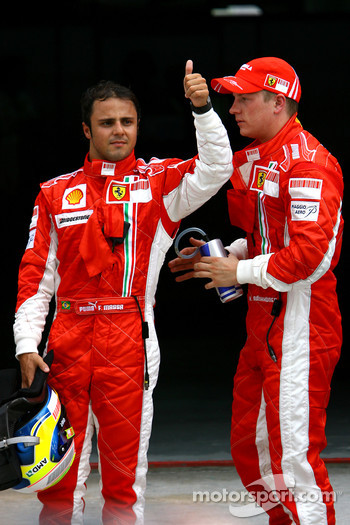 Pole winner Felipe Massa with Fernando Alonso and Kimi Raikkonen