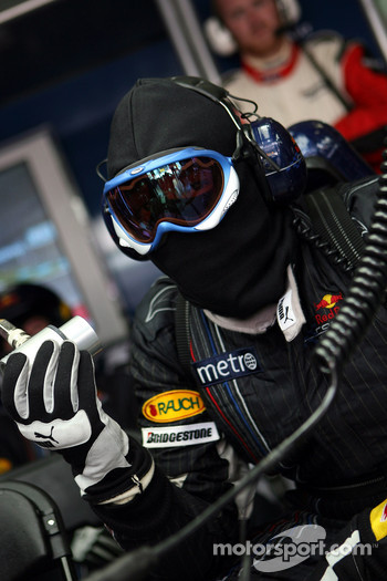 Red Bull Racing pit crew member in the garage