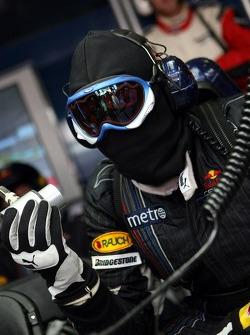 Red Bull Racing pit crew member in the garage