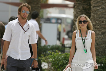 Jenson Button, Honda Racing F1 Team and Florence Brudenell-Bruce, Girlfriend of Jenson Button