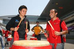 Sergio Perez, Driver of A1Team Mexico and Khalil Beschir, Driver of A1Team Lebanon
