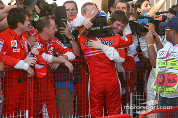 Race winner Felipe Massa celeberates with Rob Smedly