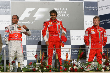 Podium: race winner Felipe Massa with Lewis Hamilton and Kimi Raikkonen