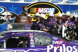 Victory lane: Jeff Burton waits to exit the car