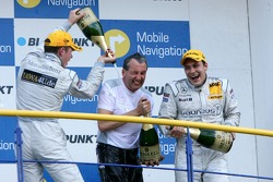 Podium, Paul di Resta, Persson Motorsport AMG Mercedes and Gary Paffett, Persson Motorsport AMG Mercedes spray champaign over Igmar Persson, Team Owner Persson Motorsport
