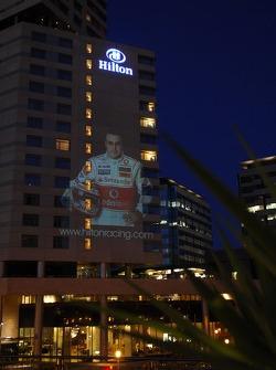 Fernando Alonso, McLaren Mercedes, image is projected onto the facade of the Hilton Diagonal Mar