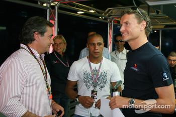 Carlos Sainz, Ex WRC Champion, Roberto Carlos, Real Madrid, Football player and David Coulthard, Red Bull Racing