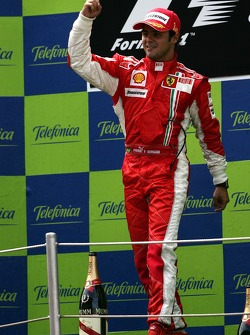 Podium: race winner Felipe Massa celebrates