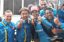 Race winner Chris Vermeulen celebrates with team
