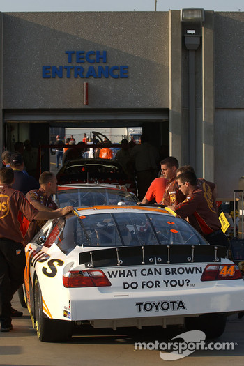 Dale Jarrett's car heads into NASCAR Tech Inspection