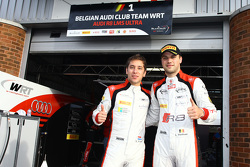 Polesitters Robin Frijns and Laurens Vanthoor Belgian Audi Club Team WRT celebrate