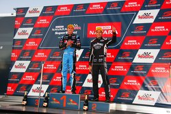 Podium: Race winner Chaz Mostert, Prodrive Racing Australia Ford and second placed Rick Kelly, Nissan Motorsports