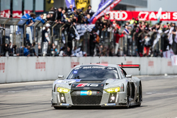 #28 Audi Sport Team WRT Audi R8 LMS: Christopher Mies, Edward Sandström, Nico Müller, Laurens Vanthoor starts its last lap before the end of the race