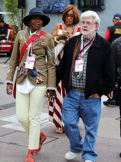 George Lucas, Star Wars Creator with his wife Mellody Hobson,