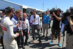 Romain Grosjean, Lotus F1 Team with Simon Lazenby, Sky Sports F1 TV Presenter; Johnny Herbert, Sky Sports F1 Presenter, and Paul di Resta, DTM Driver