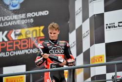 Chaz Davies, Ducati Superbike Team, sur le podium de Portimao