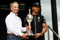 Lewis Hamilton, Mercedes AMG F1 receives the Hawthorn Memorial Trophy from Rob Jones, Motor Sports Association, Chief Executive.