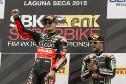 Podium: race winner Chaz Davies, Ducati Team, third place Jonathan Rea, Kawasaki Racing