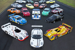 A huge collection of historical Porsches