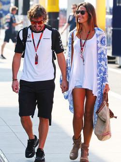 Fernando Alonso, McLaren with his girlfriend Lara Alvarez