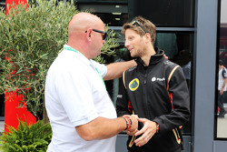 (L to R): Philippe Bianchi, the father of Jules Bianchi, with Romain Grosjean, Lotus F1 Team