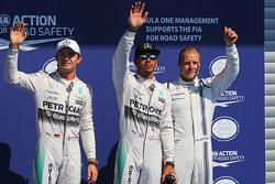 Qualifying top three in parc ferme,: Nico Rosberg, Mercedes AMG F1, second; Lewis Hamilton, Mercedes AMG F1, pole position; Valtteri Bottas, Williams, third