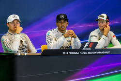 The post race FIA Press Conference,: Nico Rosberg, Mercedes AMG F1, second; Lewis Hamilton, Mercedes AMG F1, race winner; Romain Grosjean, Lotus F1 Team, third